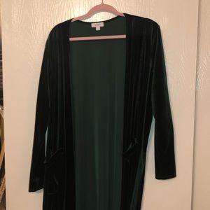 Green Velvet Lularoe Sarah (long cardigan)